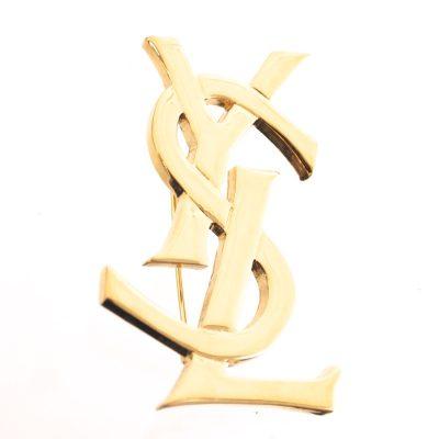Vintage Yves Saint Laurent Never Used YSL Gold Logo Excellent Pin Brooch