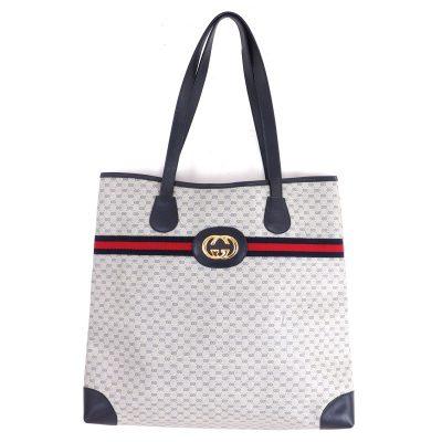 Vintage Gucci Blue Red Excellent Tote Shopper  Shoulder Bag