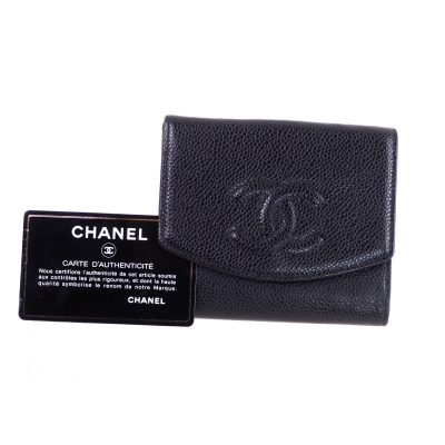 Vintage Chanel Black Caviar Simple  Wallet
