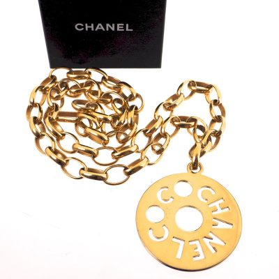 Vintage Chanel Medallion Cut Out Chunky Chain Belt Necklace
