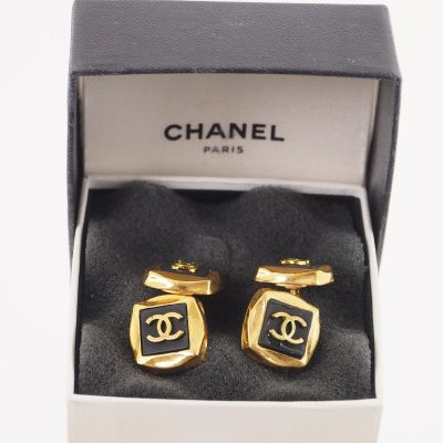 Vintage Chanel Black Gold CC Logo Square Cuff Links in Box