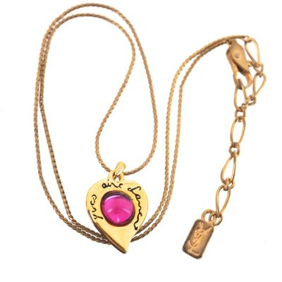 Vintage Yves Saint Laurent Gripoix Pink Red Heart Charm Chain Necklace