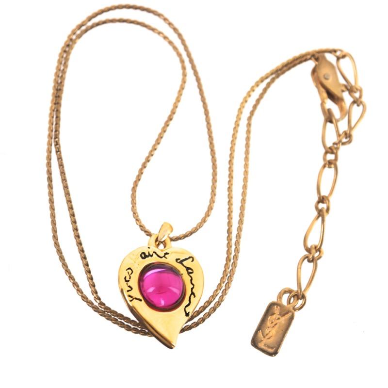 e004c75c86c Vintage Yves Saint Laurent Gripoix Pink Red Heart Charm Chain Necklace -  Nina Furfur Vintage Boutique