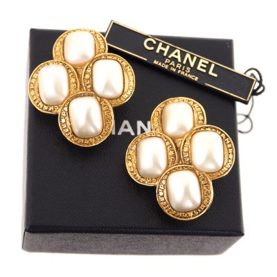 Vintage Chanel Large Rare Faux Pearl  Earrings