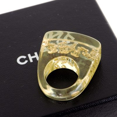 Vintage Chanel Never Used CC Gold Logo Acrylic Chunky Ring