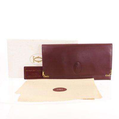 Vintage Cartier Burgundy Red Envelope Organizer NIB Clutch Bag