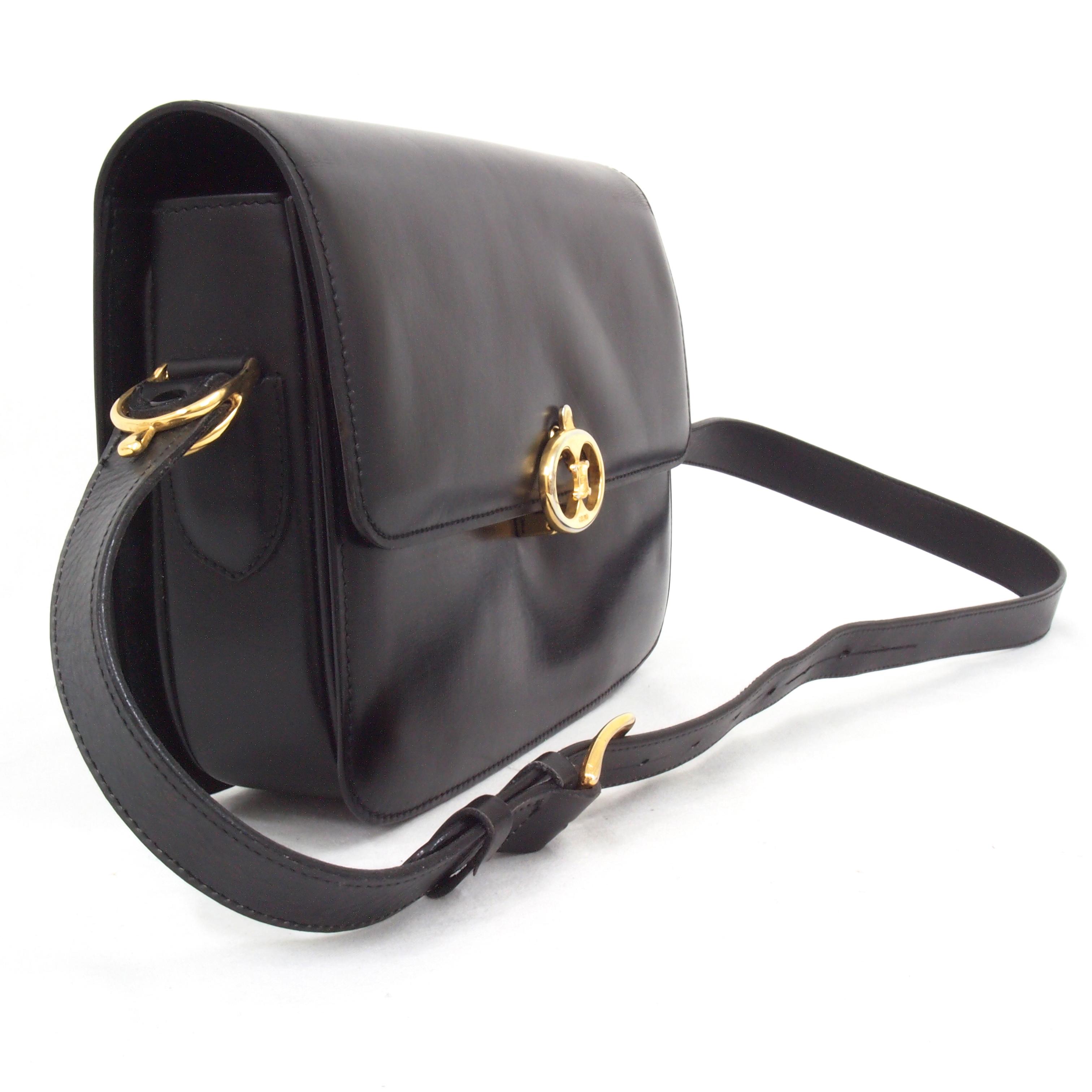 Vintage Celine Black Leather Logo Buckle Flap Shoulder Bag Handbag ...