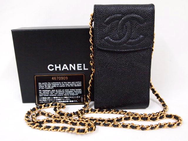 Vintage Chanel Black Caviar Long Chain Cross Body Cellphone Case ...
