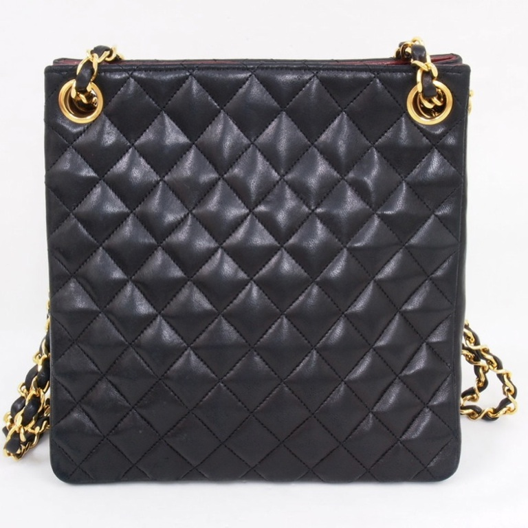 19df21ff671e76 Vintage CHANEL Quilted Chain Tote Bag Shoulder Handbag Extra Long Chain  Auth. | eBay