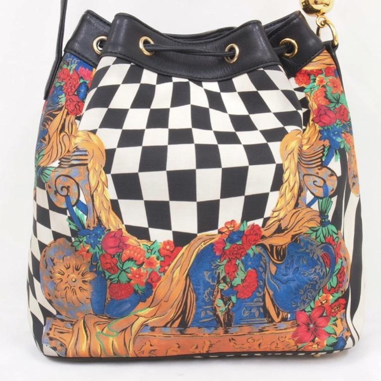 Vintage Gianni Versace Decorative Print Drawstring Bucket