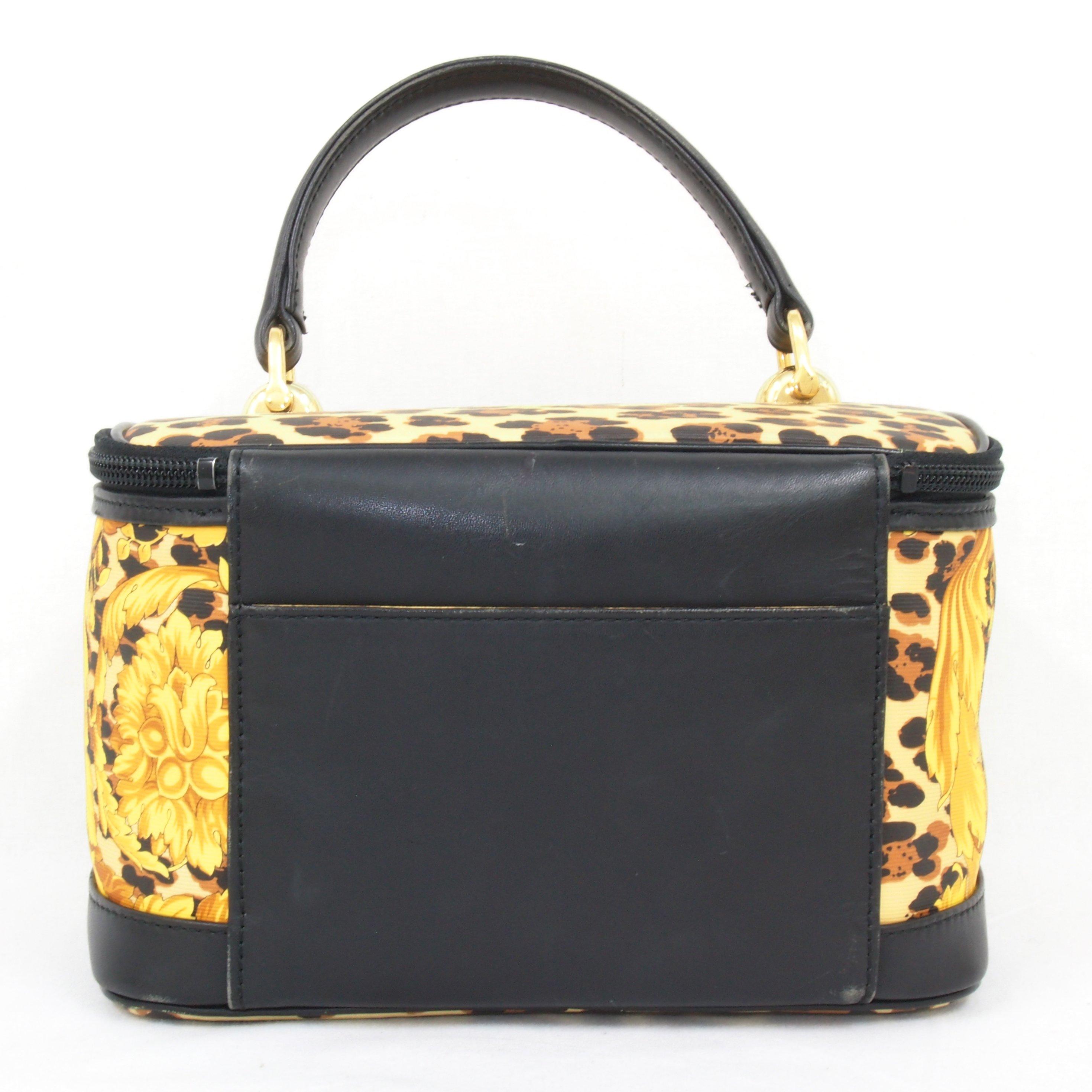Vintage Gianni Versace Vanity Bag Leopard Medusa Handbag