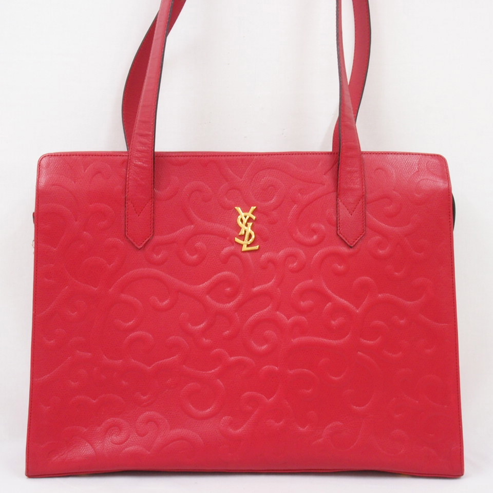 Vintage YSL Tote Bag with Arabesque Emboss in Super RARE Red ...