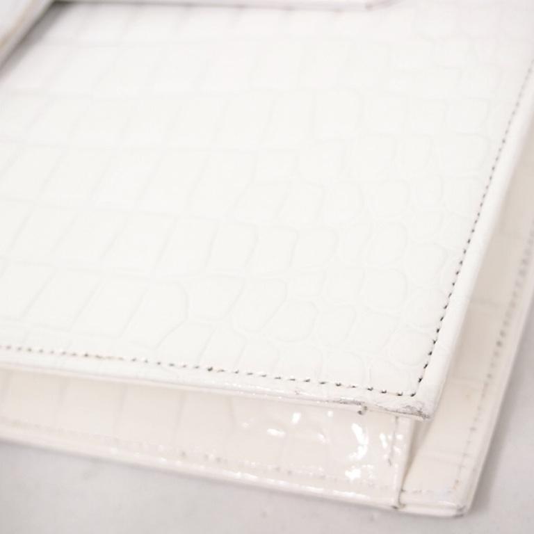 Vintage Yves Saint Laurent Ysl Crocodile White Envelope
