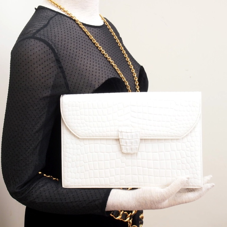 Vintage Yves Saint Laurent Ysl Crocodile White Envelope