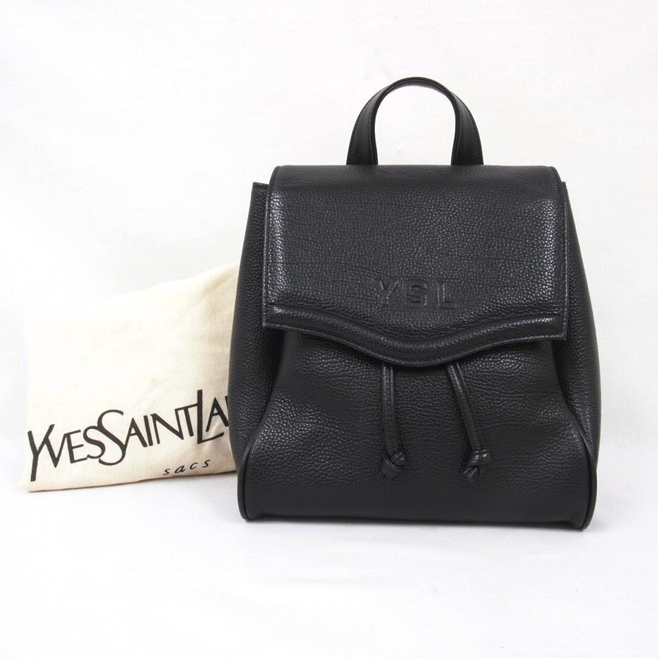 2392566f9a4 Vintage Yves Saint Laurent YSL Mint Condition Black Leather Backpack  Handbag | eBay