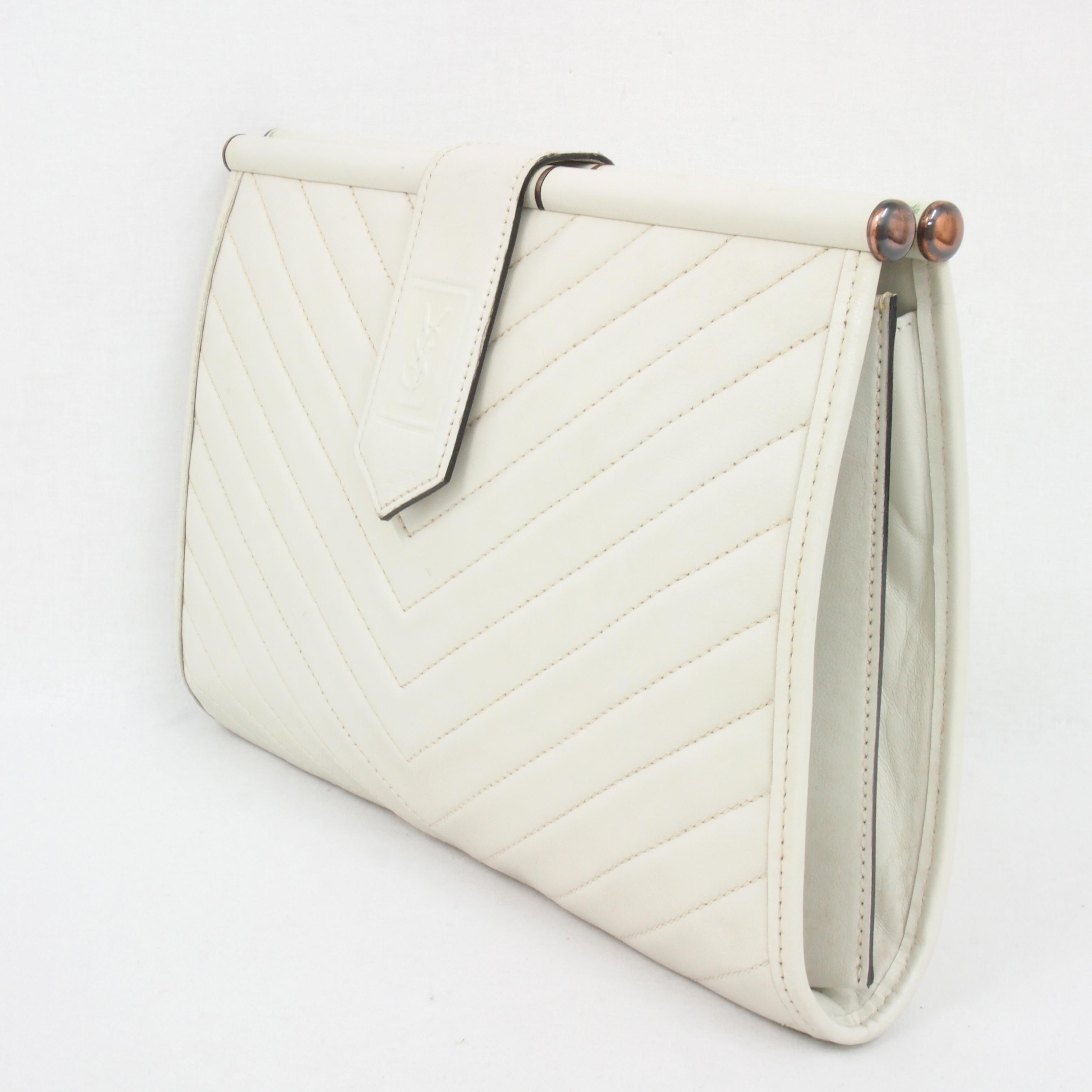 Vintage Yves Saint Laurent YSL Chevron Clutch Bag Purse White ...