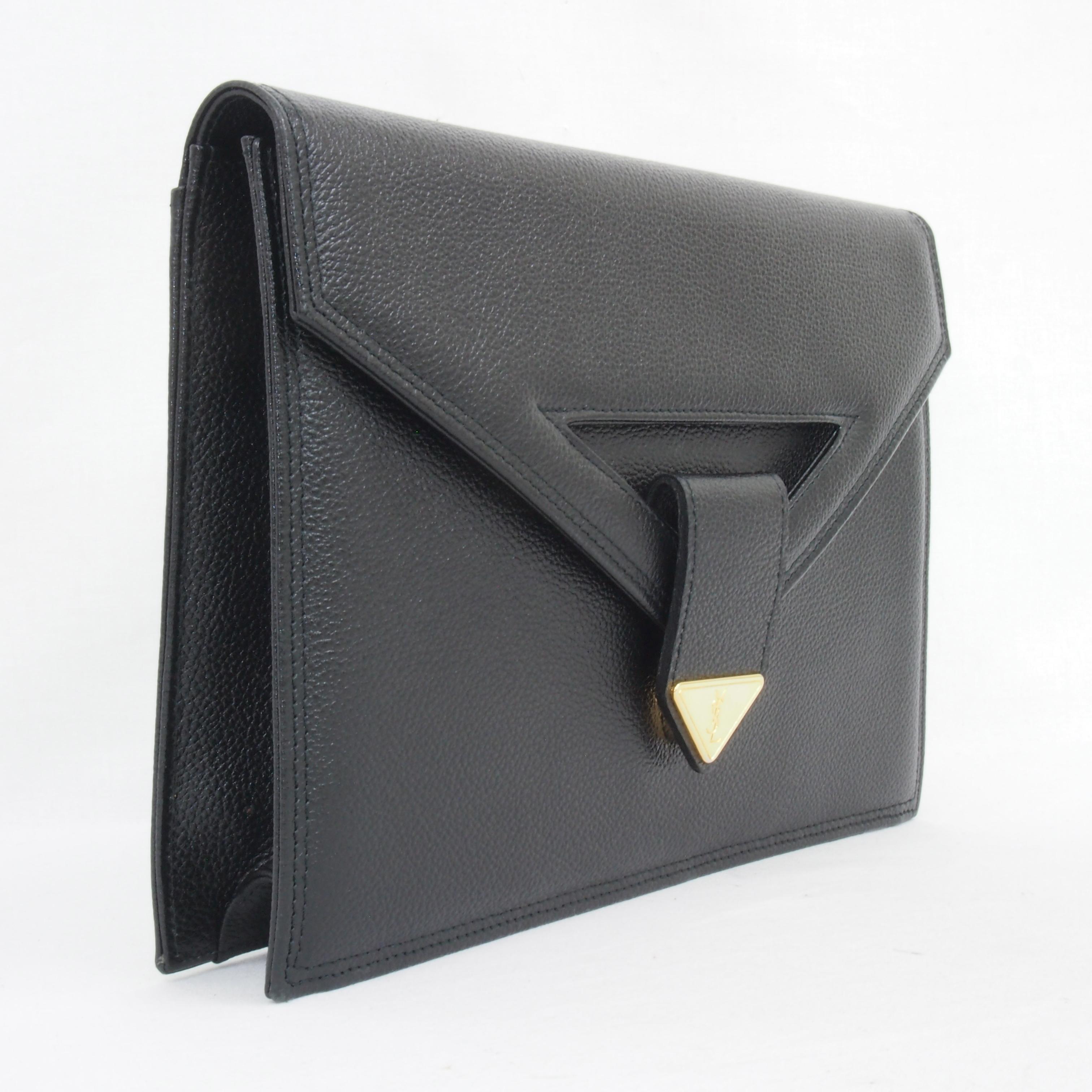 Vintage Yves Saint Laurent YSL Envelope Clutch Bag Bat Y Flap Mint ...