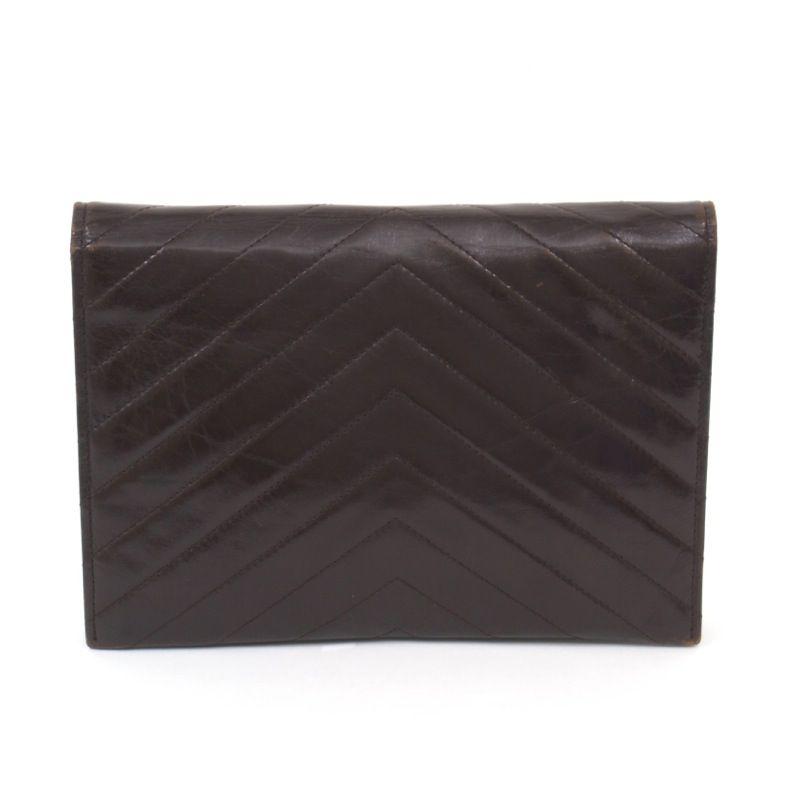 Vintage Yves Saint Laurent YSL Chevron Brown Clutch Bag - Nina ...