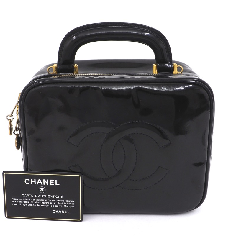 21e2520c9f7f Vintage Chanel Patent Leather CC Logo Vanity Hand Bag - Nina ...