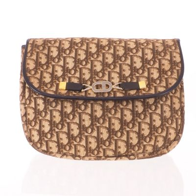 2b7f7e4b36f6 Vintage Christian Dior Monogram Brown CD Large Clutch Bag