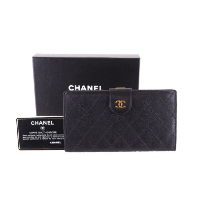 a8d4fe08ca33 Vintage Chanel Caviar Skin Quilted Long Clutch Wallet