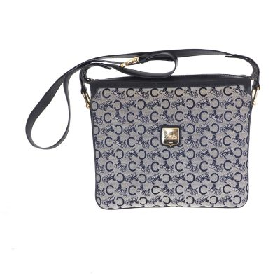 f00416e4f28 Vintage Celine Blue Horsecarriage Pattern Square Shoulder Bag