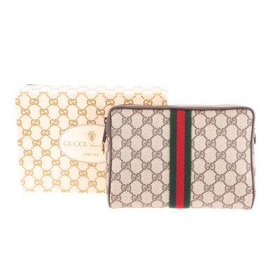 ac23be542887 Vintage Gucci NIB Monogram Box Clutch Bag