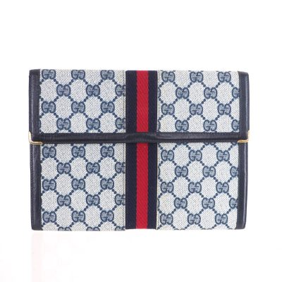 52eb0cc614b3 Vintage Gucci Blue Red Excellent Beautiful Monogram Clutch Bag