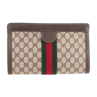 994a1b02901d46 Vintage Gucci Excellent Condition Large Monogram Signature Clutch Bag