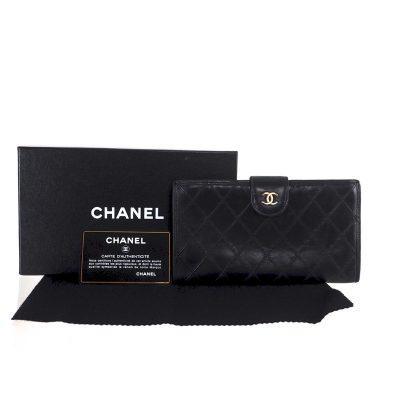 02cd5fc1ef1 Vintage Chanel Quilted Lamb Large Clutch Black Leather Wallet