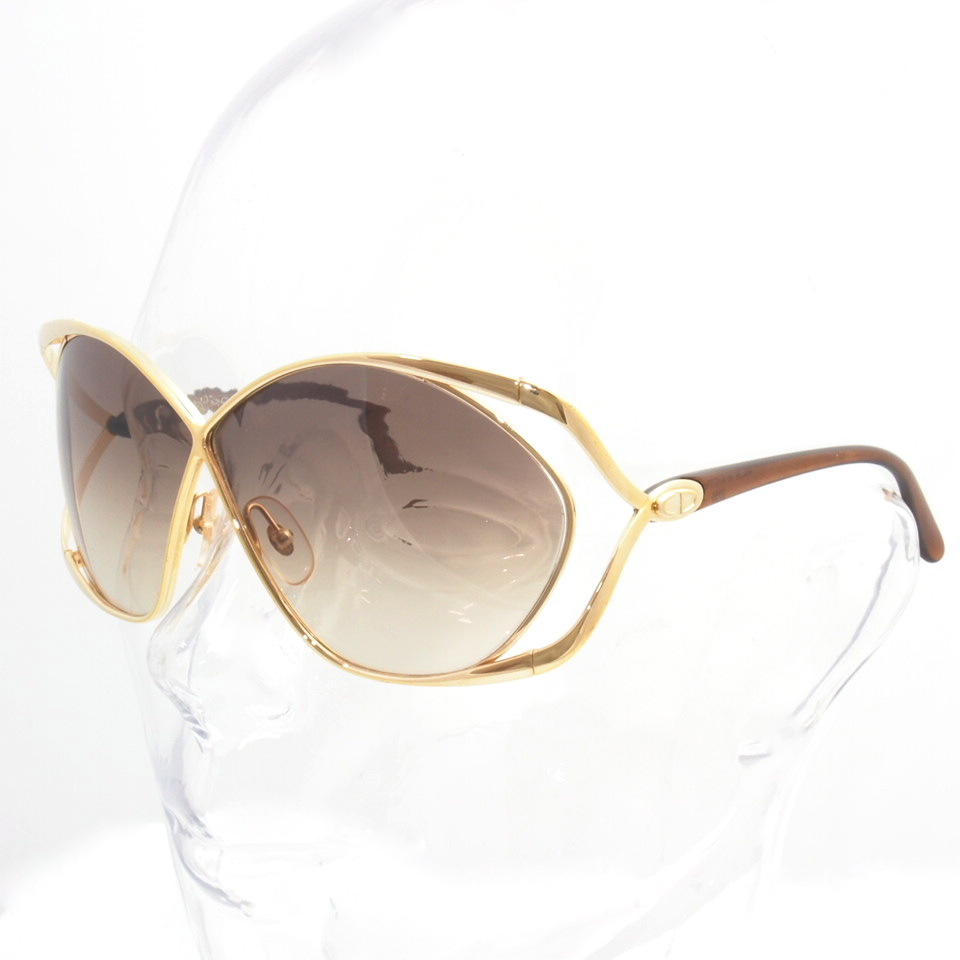 Vintage Christian Dior Oversized Butterfly Sunglasses Gold